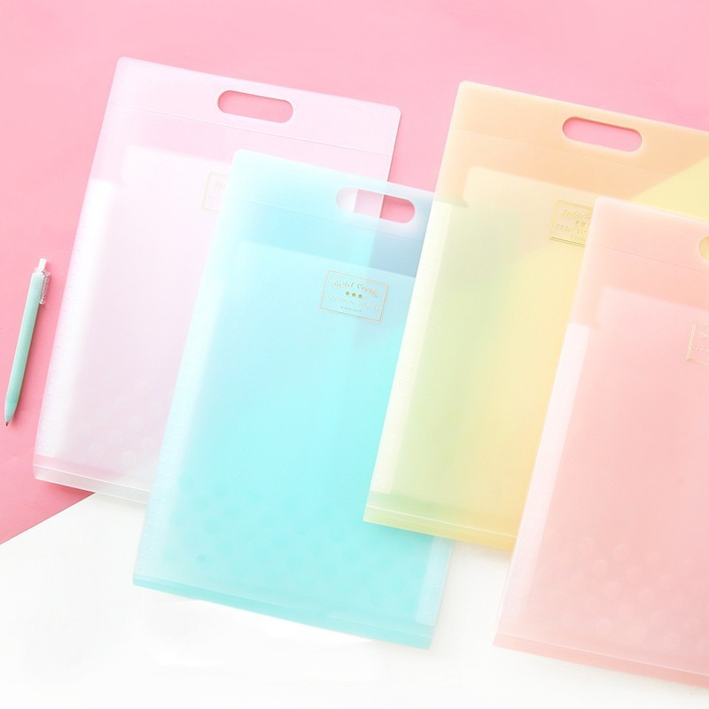 JIANWU KOKUYO Cute Light-coloured Cookies  A4 6P Folder Storage Bag Candy Plastic File Pocket Kawaii School Supplies