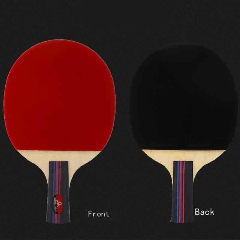 2Pcs Tennis Da Tavolo Racchetta Manico Lungo Manico Corto di Gomma di Carbonio Doppio Viso Brufoli Ping-Pong Racchette Bat Con 2 palle e Caso