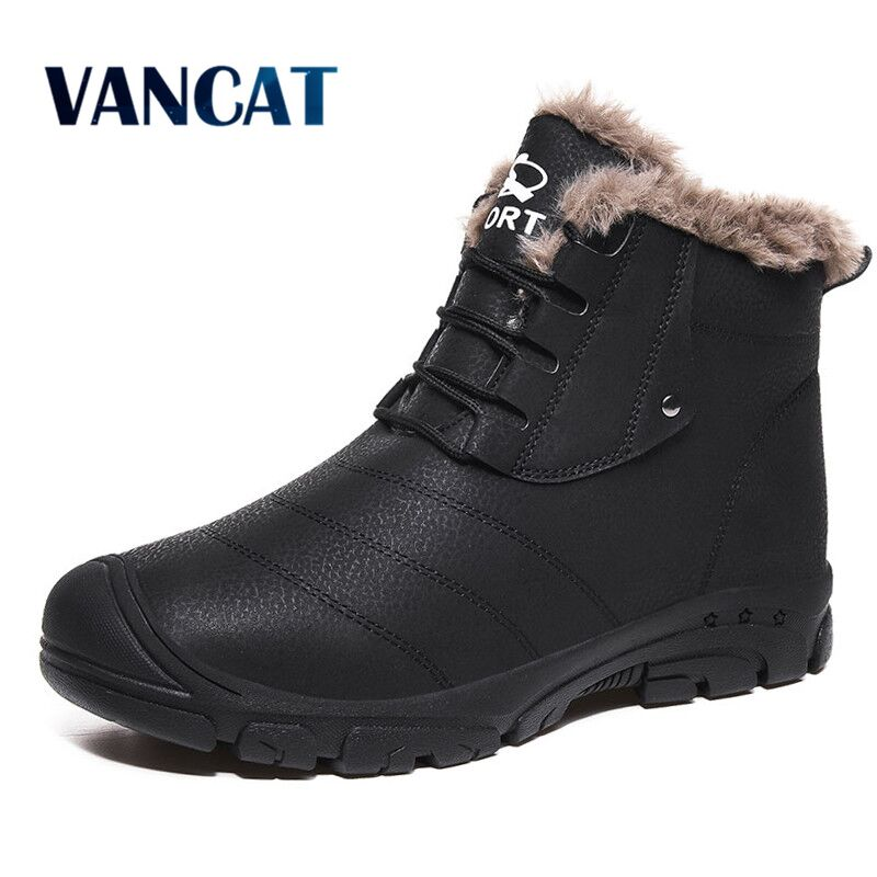 2019 New Men's Boots Winter Fur Outdoor Sneakers Waterproof Men Snow Boots Warm Plush Ankle Boots Motorcycle Boots Big Size39-48