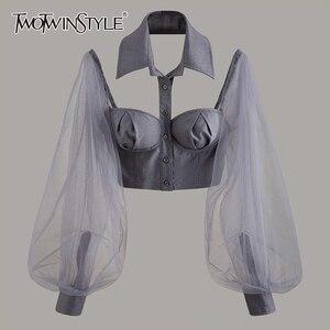 TWOTWINSTYLE Elegant Hollow Out Women Shirt Lapel Collar Lantern Long Sleeve Patchwork Mesh Short Blouse For Female Fashion Tide