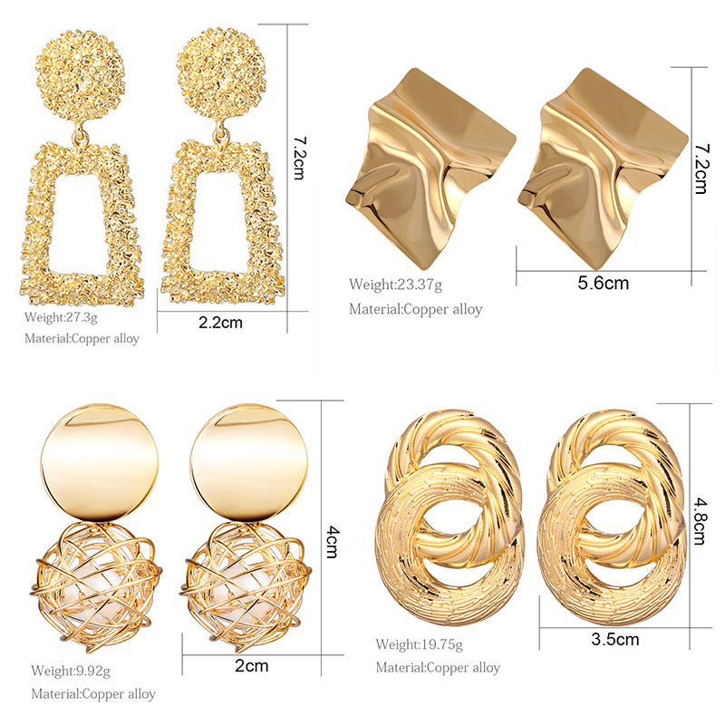 H449c97b53fd14f399904e45c3e97daa0W - Hot Women Earrings Gold Drop Earrings For Women Statement Big Geometric Hanging Dangle Earring Brincos Vintage Jewelry