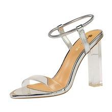 Nowe mody przezroczysty kryształ z wystającym palcem drążą wysokie obcasy kostki Wrap Plus Size kobiet sandały tanie tanio Heileely CN (pochodzenie) Super Wysokiej (8cm-up) Na co dzień Stabilizator na kostkę Adult