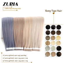 ZURIA Invisible Remy Tape In Extensions Natural Real Straight Human Hair Double Drawn Adhesive Skin Weft 16