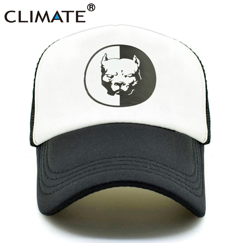 CLIMATE Cool Pitbull Trucker Caps Bully Super Hero Dog Summer Cap Cool Dog Mesh Caps Black Baseball Caps Hat For Men Women
