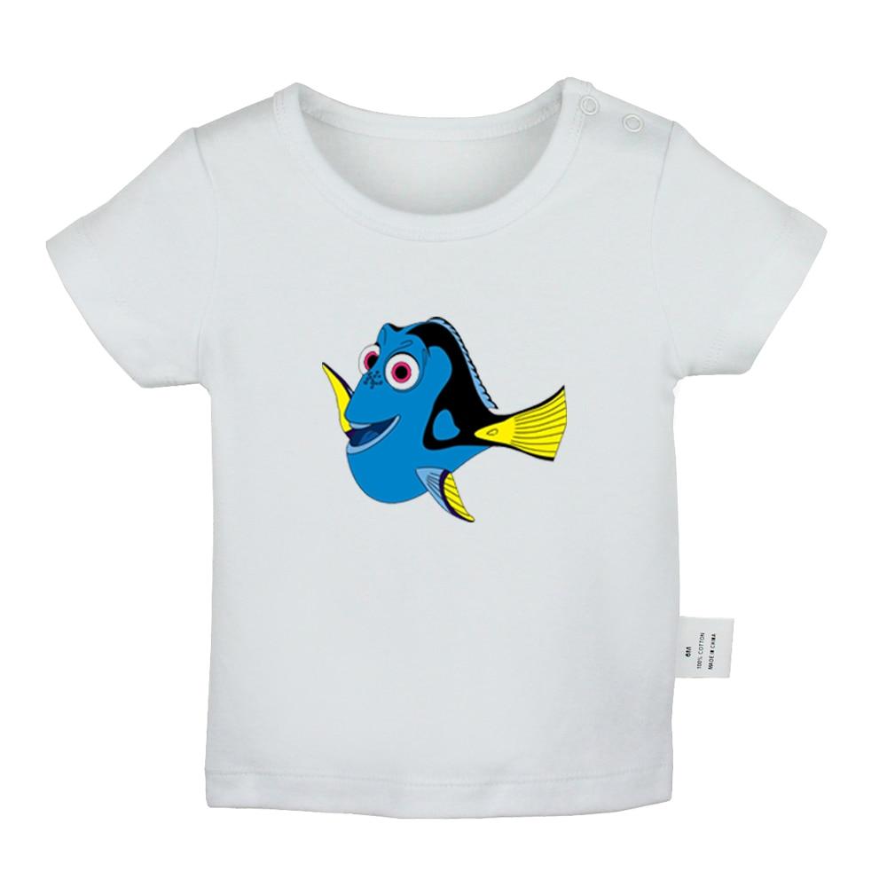 Encontrando nemo regal azul tang dory tubarão bonito dos desenhos animados do bebê recém-nascido meninos meninas camisetas da criança gráfico de manga curta camisetas