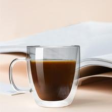 Double Wall Glass Cup Coffee Mugs with Handle Whiskey Wine Tea Drinkware Milk 250/375/475ml