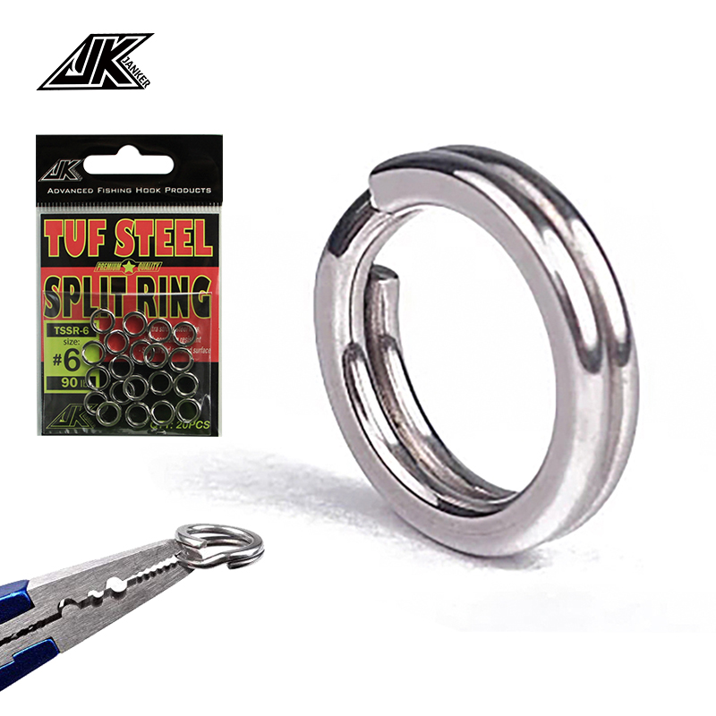 100PCs 6Size Fishing Solid Stainless Steel Snap Split Ring Lure Tackle Connector