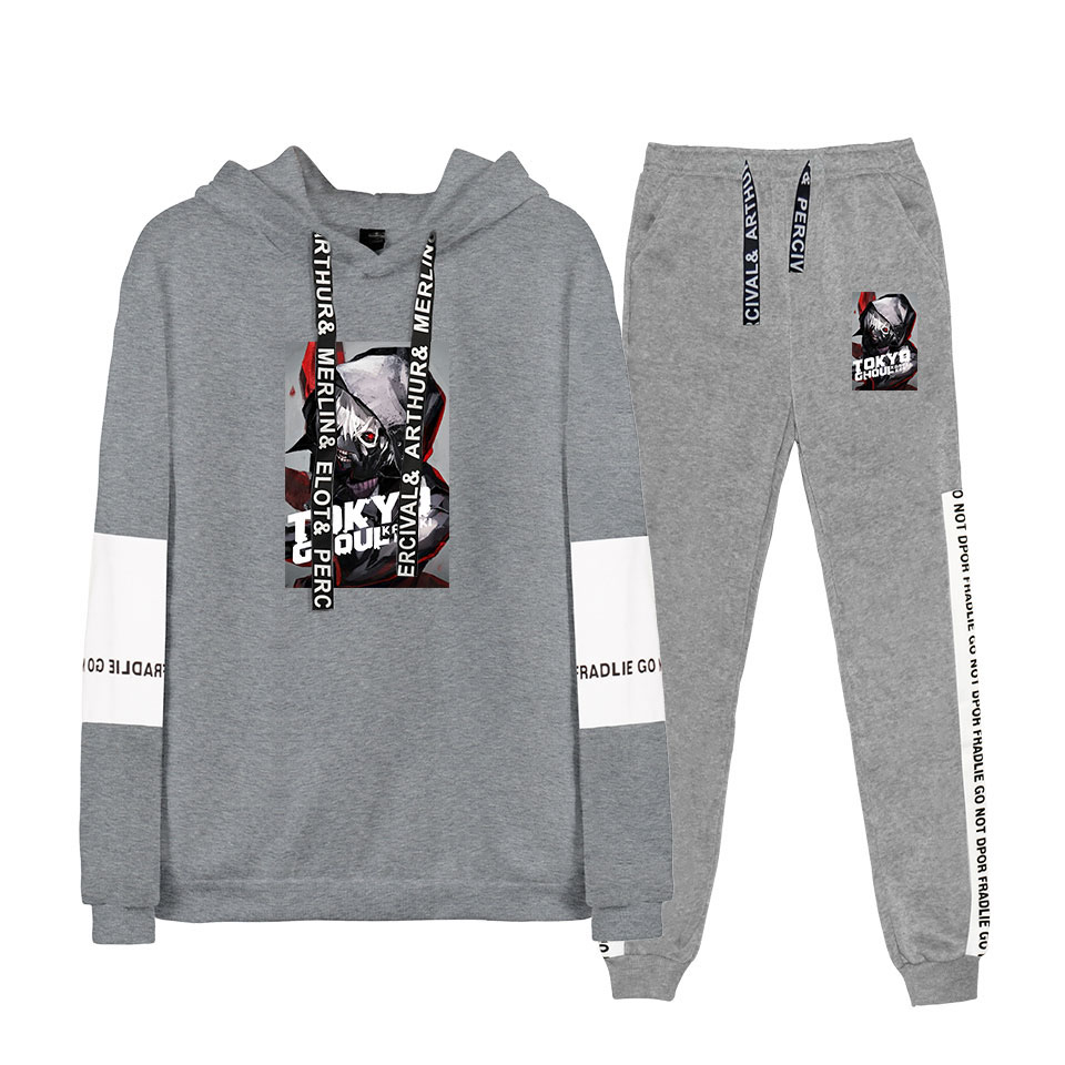 YINUODAIL Tokyo Ghoul Simple Printed Two-piece Sweatshirt Sets Stylish Hoodie Sweatshirt Long Sleeve+Loose Pants Casual Suits