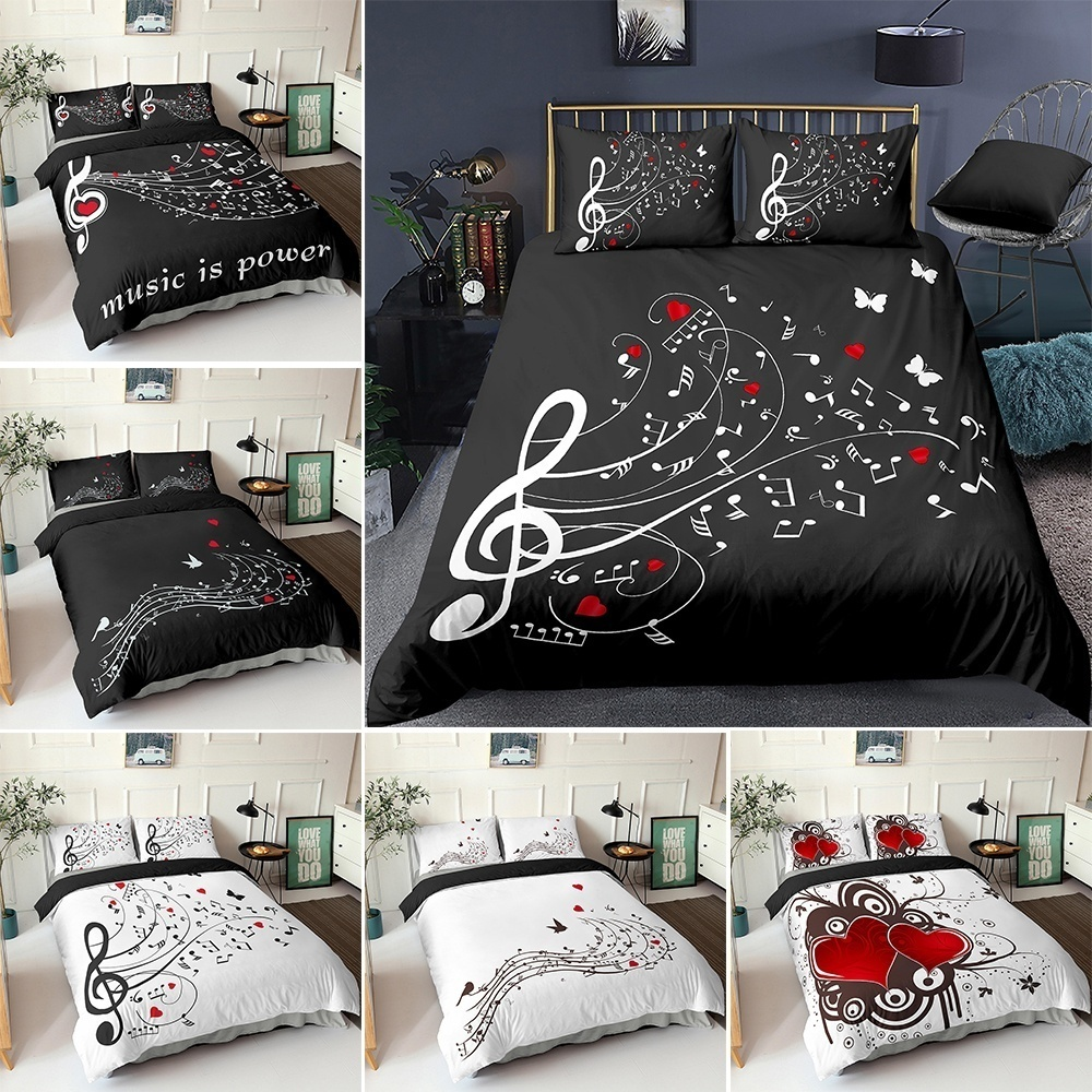 3D Digital Duvet Cover Music Note Printed Bedding Set Beating Comforter Cover Kids Adult Bedding Set for Winter US/EU/AU Size