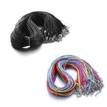 10 шт/лот 15 мм черный 45 + 5 см Кожаный Плетеный шнур ожерелья