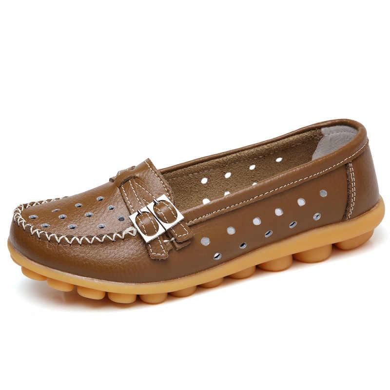 Модная женская обувь на плоской подошве; Новинка; женские повседневные лоферы с двойной пряжкой; мягкая женская обувь из натуральной кожи для вождения; большие размеры 42