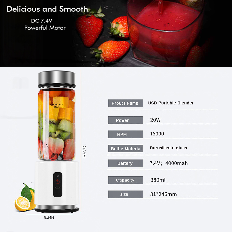 Image 5 - BPA FREE USB Rechargeable Smoothie Blender Battery Personal 380ml Glass Smoothie Blender Juicer Easy Small Portable Blender-in Blenders from Home Appliances