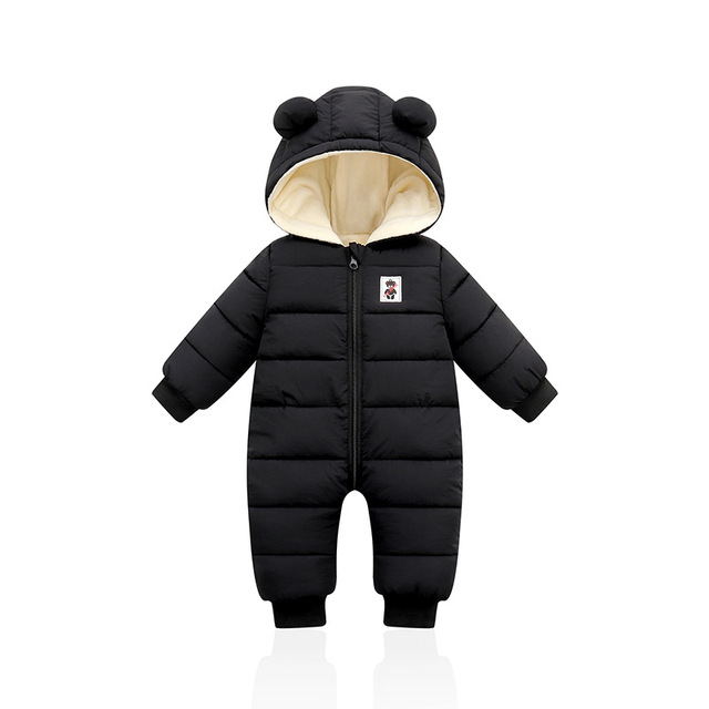 Ins 2021 Autumn Winter Infant Baby Clothing New Baby Boys Thick Down Cotton Jumpsuit Girls Long-sleeved Hooded Romper 3-12 Month