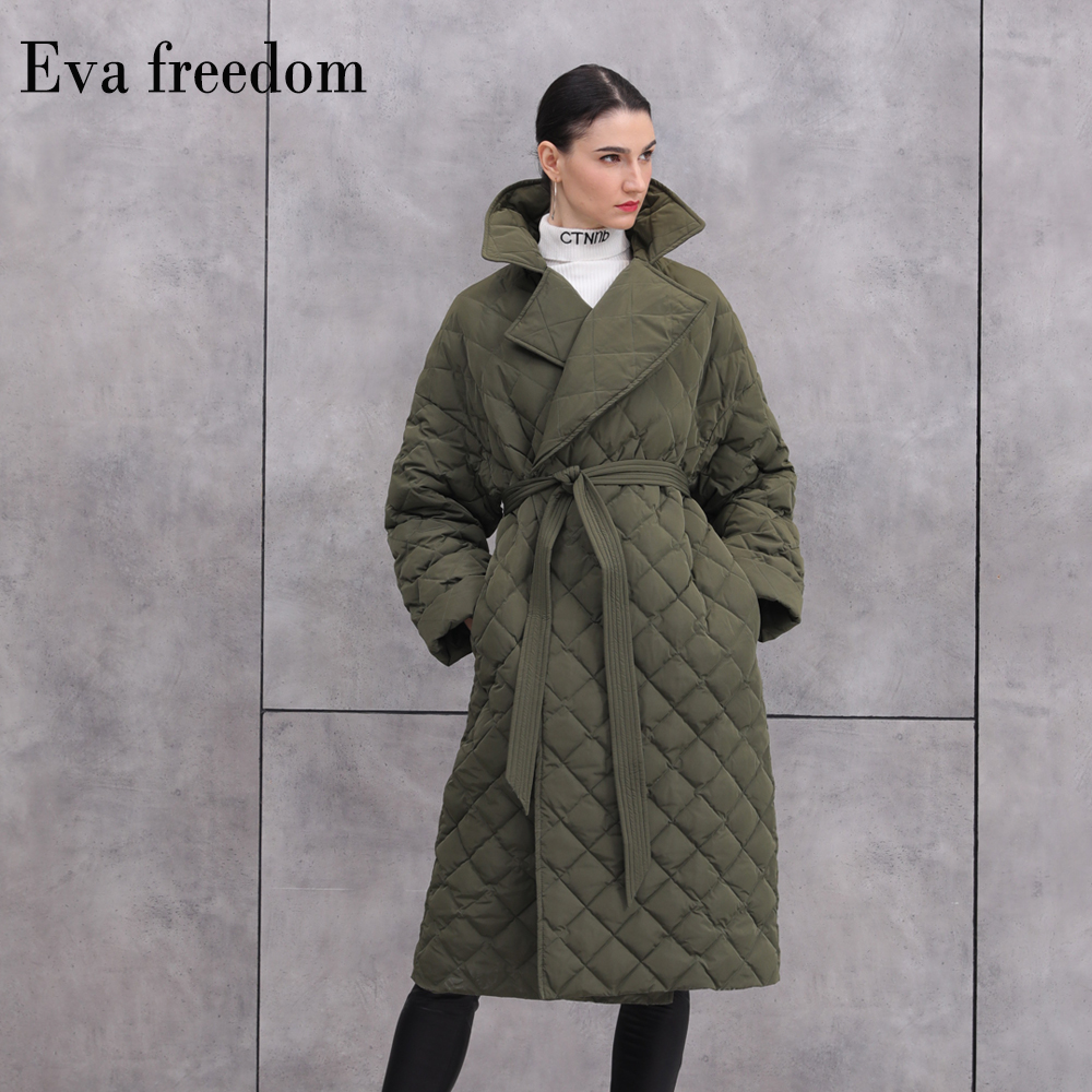 90% Duck Down Warm Parkas Coat Winter Fashion Brand Thick Warm Down Jacket Female Over The Knee Long Down Jacket With Belt F330