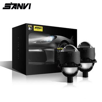 Sanvi חדש 2.5 אינץ מיני אוטומטי Bi LED מקרן עדשת פנס 35W 5500k רכב אוטומטי LED פנס H4 h7 9005 9006 מקרן אור