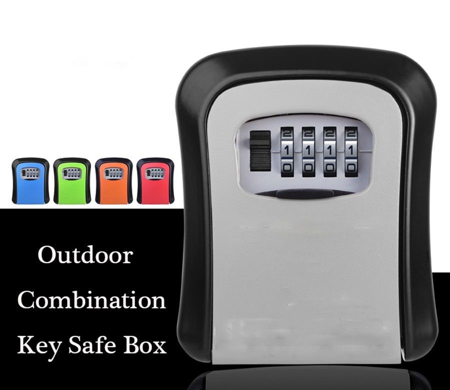 Key Box Combination Hide Key Lock Box Storage Wall Mount Security Outdoor Case with Resettable Code 4 Digit Combination Lock BoxSafes   -