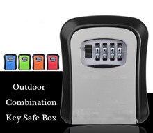 Pojemnik na klucze kombinacja ukryj zamek kluczowy pudełko do przechowywania do montażu na ścianie bezpieczeństwo etui odporne na upadki z resetowalnym kodem 4 kombinacja cyfr blokada