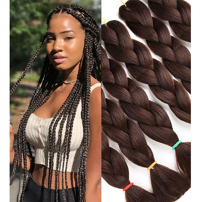 3Piece/1pack 24Inch  Jumbo Braiding Hair Pre Stretched Afro Wholesale Ombre Synthetic Hair Braid Extension Pure Color For Women