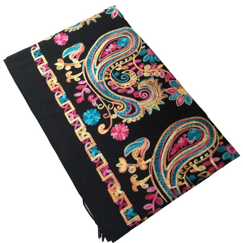 Women Black Embroider Flower Pashmina Cashmere Scarf Winter Warm Fine Tassels Scarf Oversize Shawl Fashion Shawl Scarves