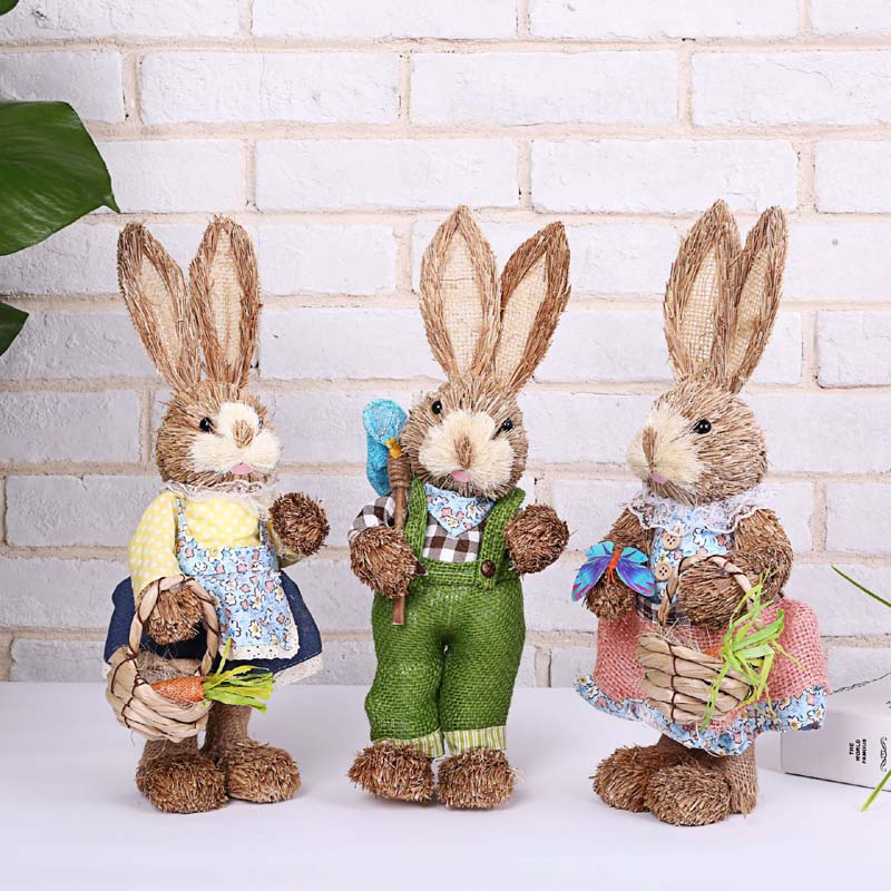 A Variety Of Styles Easter Decoration Simulation Rabbit,Foam Straw Rabbits For Home Decor,Happy Easter Party Favors Toys