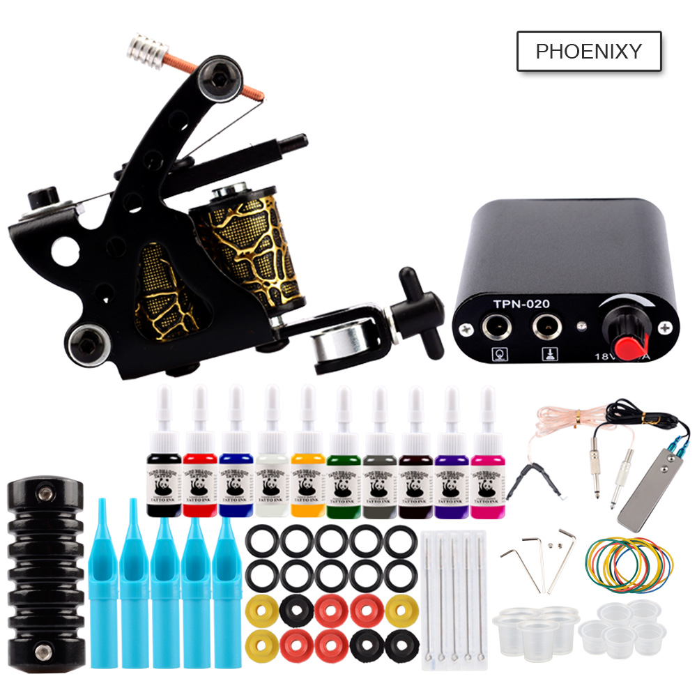 Complete Tattoo Kit 1 Coils Guns 20 Colors Pigment Inks Set LCD Power Supply Permanent Makeup Tattoo Kits Tattoo Machine Set