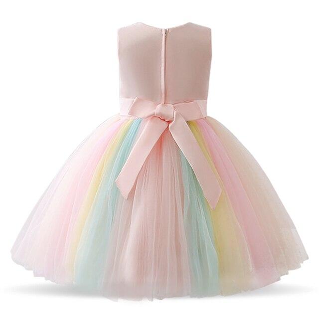 Robes à fleurs pour filles robe dentelle broderie arc-en-ciel bébé fille robe de mariée robes de fête robes enfants vêtements