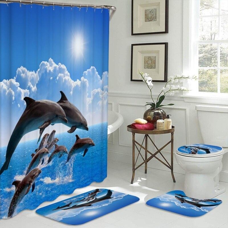 Ozean Design Delphin 4 In 1 Wasserdichte Stoff Bad 3D Dusche Vorhang Set mit Nicht Slip Wc Abdeckung Teppiche Matte hause Dekoration