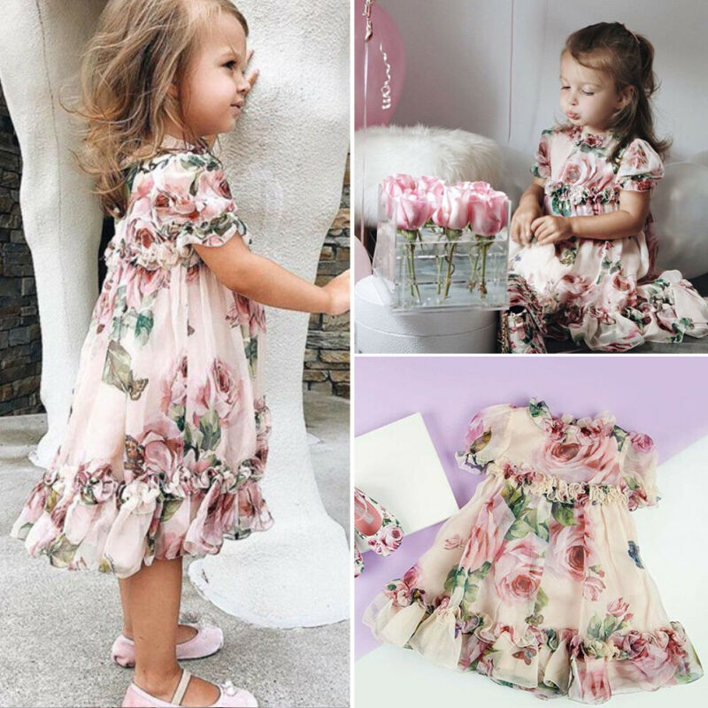 Toddler Baby Kid Girl Flower Dress Chiffon Ruffle Dress Pageant Party Clothes