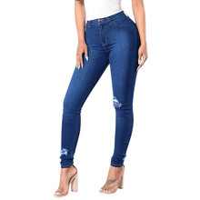 Fashion Jeans for Womens Push Up Denim Hole Female Mid Waist Stretch Slim Sexy High skinny Blue Pencil Pants W905