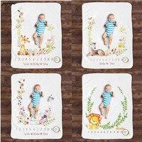 Manta para crecimiento de registro mensual de bebé, accesorios de fotografía con patrón de Animal para recién nacido, fondo creativo de foto, tela infantil