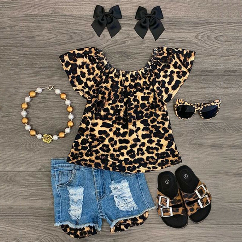 Summer Kids Baby Girl Ruffle Leopard Print Tops Denim Shorts 2Pcs Clothes Set