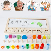 Wooden Toys 3 IN 1 Preschool Montessori Count Geometric Shape Cognition Match Baby Early Education Teaching Aids Kid Math Toys