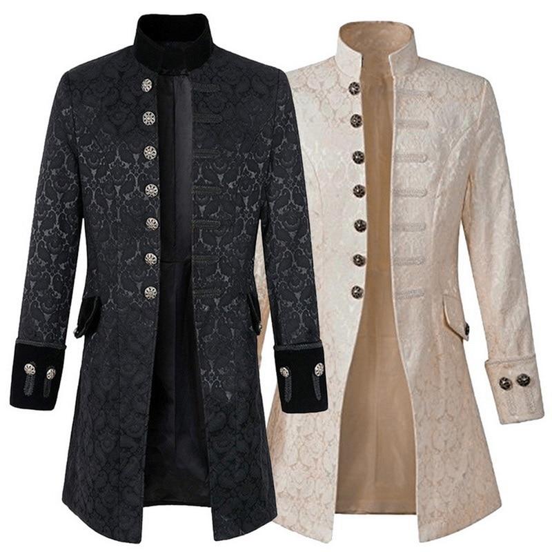 Steampunk Jacket Mens Gothic Brocade Jacket Medieval Costume Trench Coat Long Sleeve Frock Coat Vintage Stand Collar Men's Coat