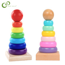 Rainbow Stacking Ring Tower Stapelring Blocks Baby Montessori Toys Early Education Teaching Aids Wood Toddler Baby Toy GYH(China)