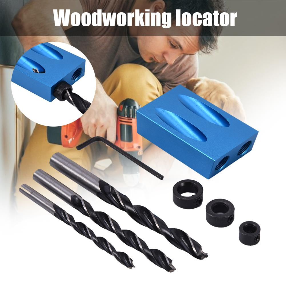 14Pcs/set Angle Woodworking Guide Positioner 6/8/10MM Oblique Hole Locator Drilling Bits Jig Clamp Kit