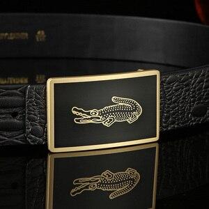 Image 4 - גברים של חגורת עור פרה חגורות מותג אופנה מוצק פליז חלק אבזם שחור אמיתי עור לגברים ג ינס עסקים 3.8cm