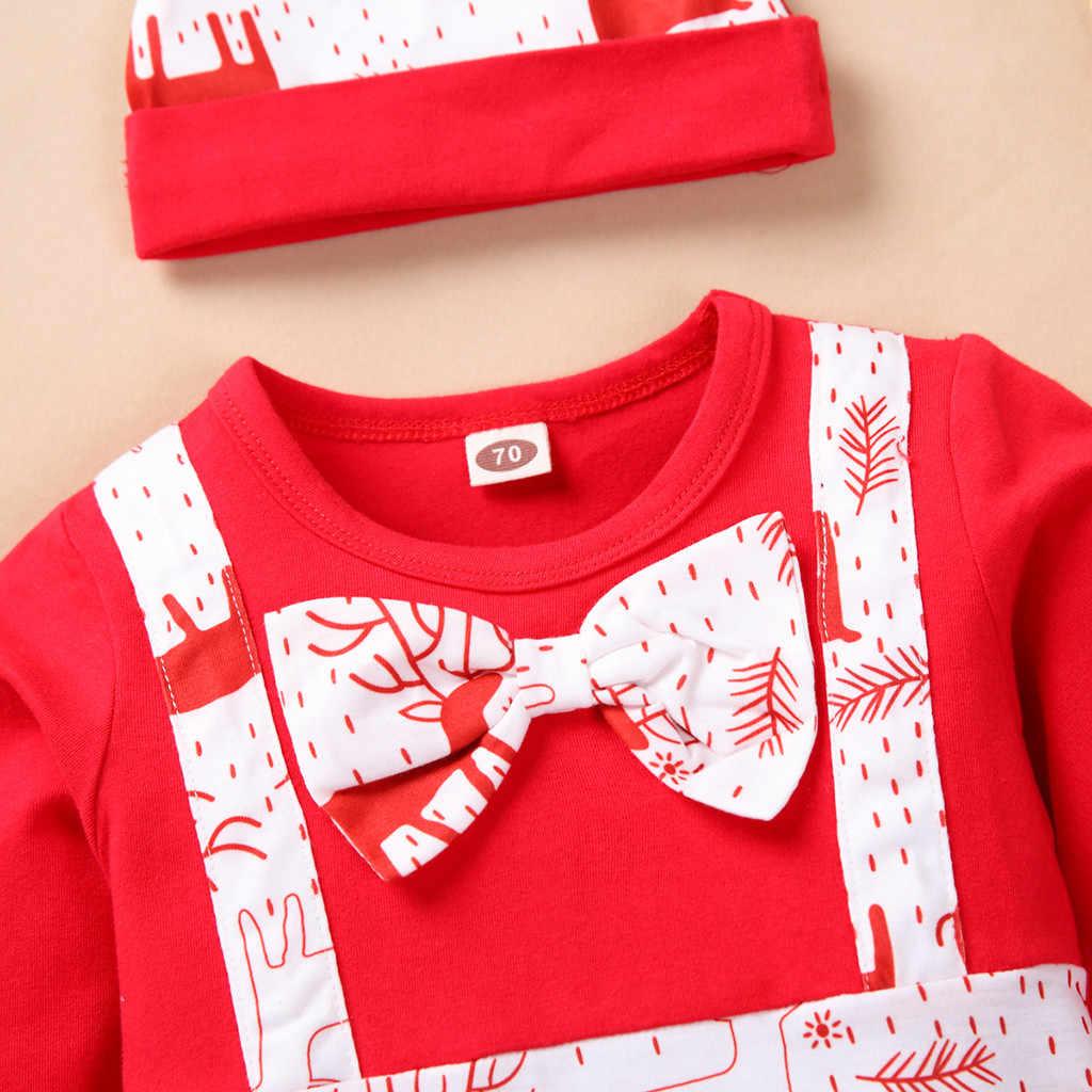 Newborn Baby Boys Girls Long Sleeve Christmas Bowknot Romper Jumpsuit+Hat Set Armilum Girls Outfits Set Baby Clothes