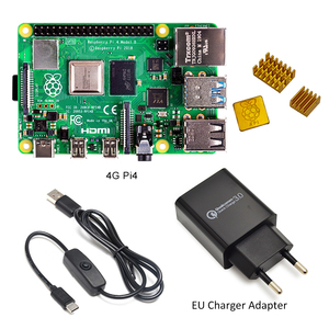Image 5 - Raspberry Pi 4 Model B kit Basic Starter Kit in stock with power switch line type c interface EU/US Charger Adapter and heatsink