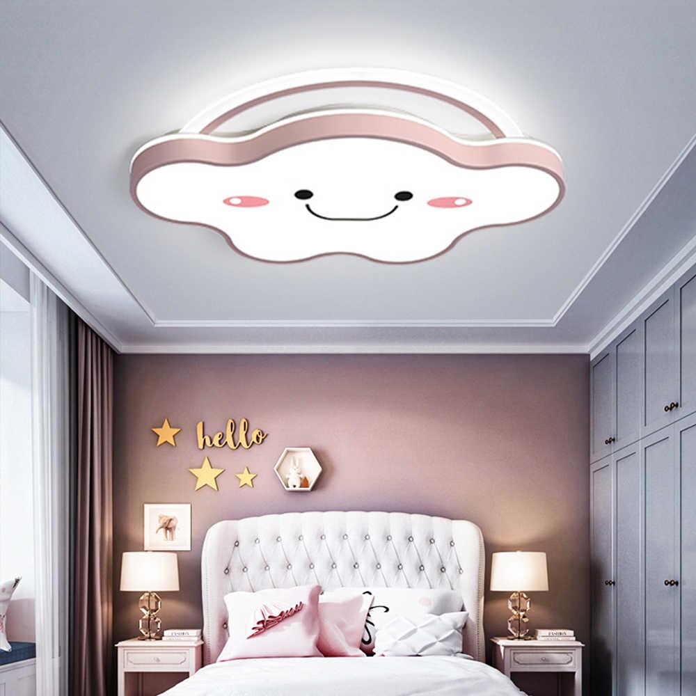 luminaire plafonnier led dimmable nuage avec telecommande lampe de plafond dore rose avec abat jour en acrylique lustre mignon pour enfants filles