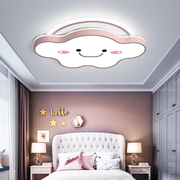 Modern LED Dimmable Cloud Ceiling Light with Remote Control Gold Pink Lamp for Children's Room Kids Girls Bedroom Nursery