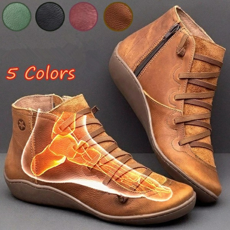 Women Winter Arch Support Lace Up Boots Casual Round Toe Mid Calf Zip Boots Size