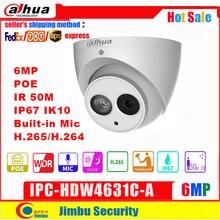 Dahua Ip Camera IPC HDW4631C A  6MP Dome Camera metal body POE Dahua 6 H.265 Built in MIC IR50m IP67 IK10