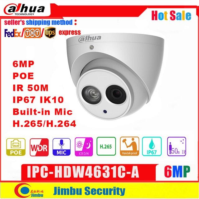 Dahua Ip 카메라 IPC HDW4631C A 6MP 돔 카메라 금속 바디 POE Dahua 6 H.265 내장 마이크 IR50m IP67 IK10