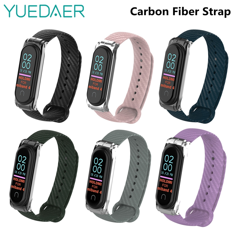 Colorful Carbon Fiber Mi Band 4 Strap For Mi Band 4 Xiaomi Band 4 With Metal Base Sport Bracelet Wristband For Mi Band 3 Replace