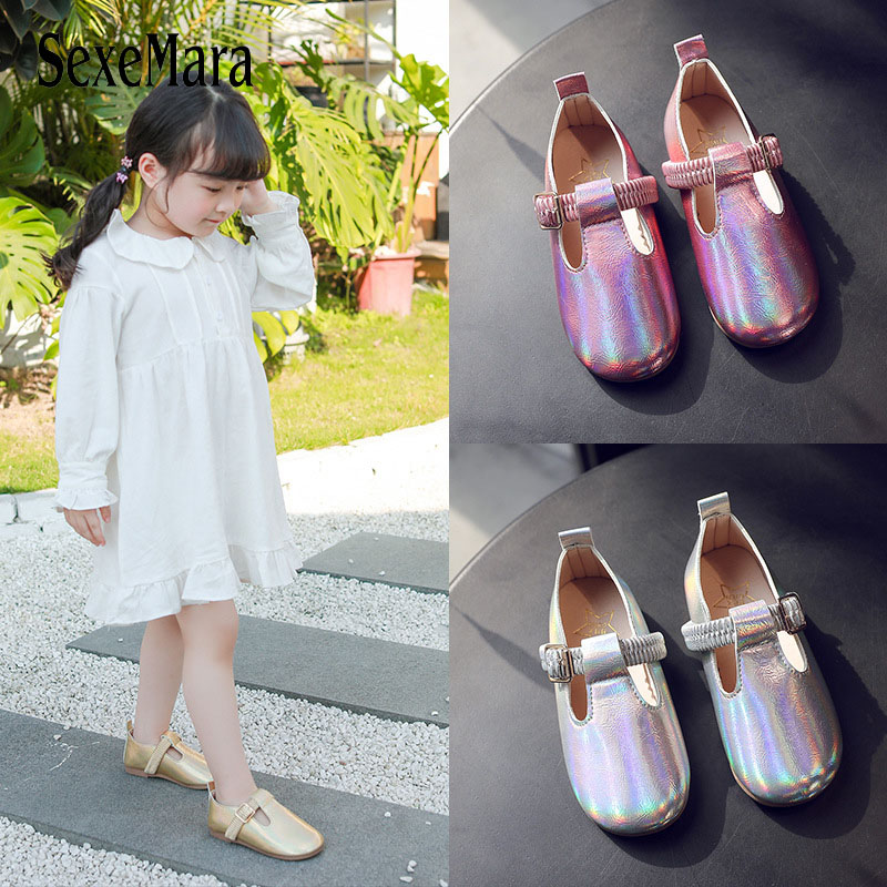 2020 Spring Children Girls Pure Color Soft Pu Leather Shoes Casual Slip On Elastic Band Students Shoes Gold Sliver Pink D01041