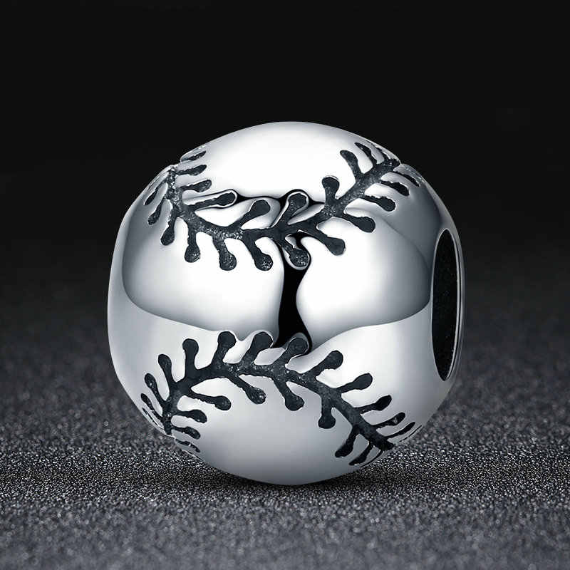 CodeMonkey กีฬา Collection 925 เงินสเตอร์ลิงกีฬาเบสบอลรอบลูกปัด Charm Fit สร้อยข้อมือ DIY เครื่องประดับ S925 CMC449