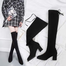 2019 New Fashion Fall Boots Slip On Over The Knee Boots Women High Heels Sexy Boots Soft Elegant High Boots Ladies Black Boots fashion knight boots women long boots soft leather bowtie boots round toe slip on solid knee high women boots black and brown