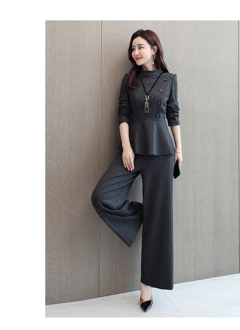 Black Grey Office Two Piece Sets Outfits Women Plus Size Buttons Tops And Wide Leg Pants Suits Elegant Fashion Ladies Suits 2019 46