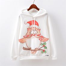 Women Long Sleeve O-Neck Christmas Hat Owl Print Pockets Sport Hooded Pullover mue Pullovers Pocket Hoodies Unisex feminina(China)