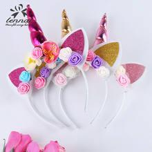 Nova marca de moda mágica unicórnio chifre floral cabeça festa criança bandana vestido fantasia presentes decorativos 2021
